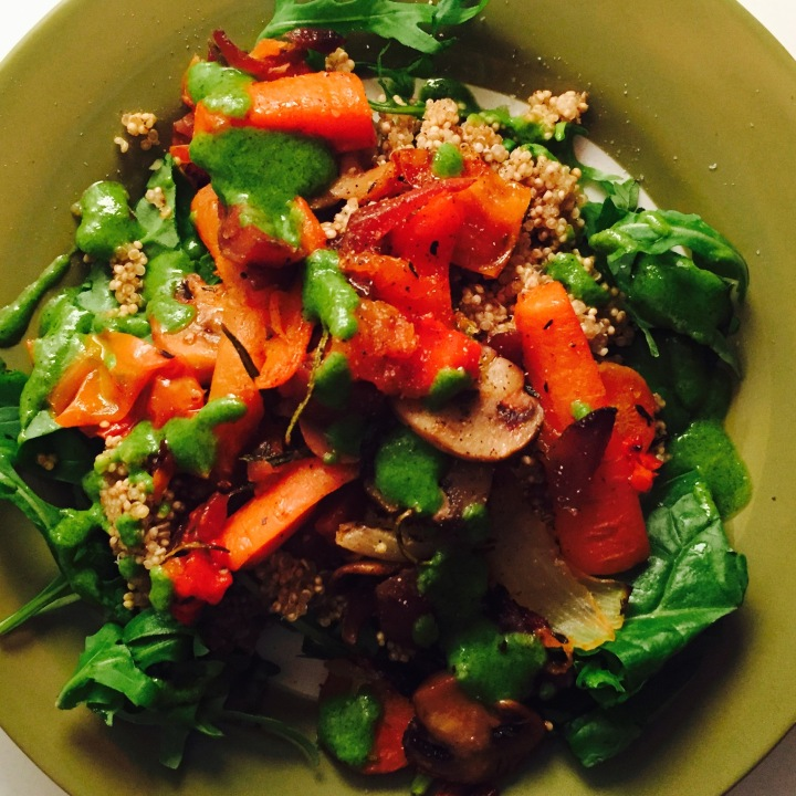 Quinoa & Roasted Vegetable Salad with Brazil Nut Pesto
