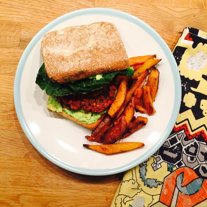 Vegan Beetroot, Mushroom, Carrot & ParsnipBurgers