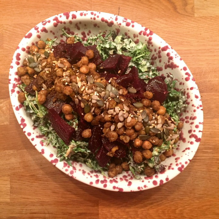 Garlicky Kale Salad with Crispy Chickpea & Beetroot