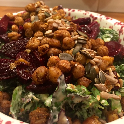Kale and Chickpea Salad with Roated Beet