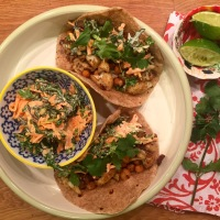 Vegan BBQ Cauliflower & Chickpea Tacos with a Creamy Lime Kale Slaw
