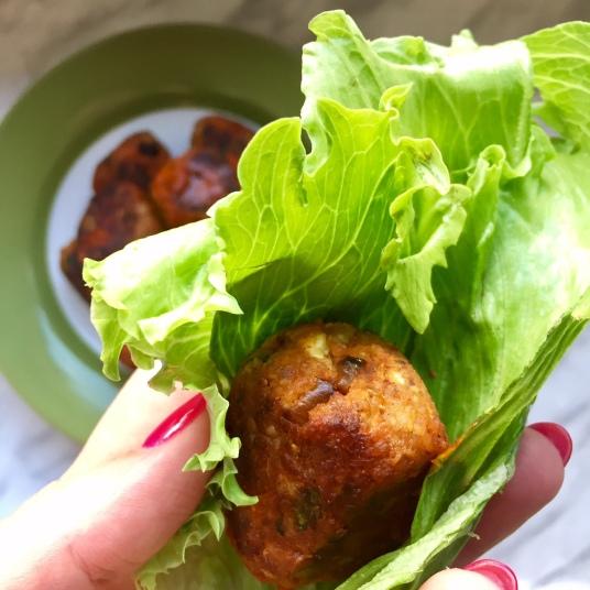 Buffalo Vegan Meatball in lettuce
