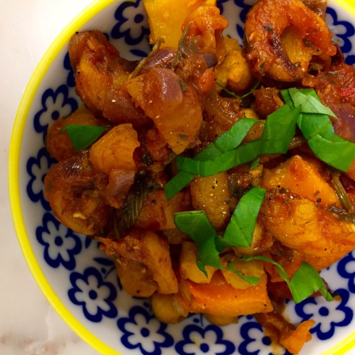 Roasted Squash and Chickpeas with Spicy Apricot Sauce