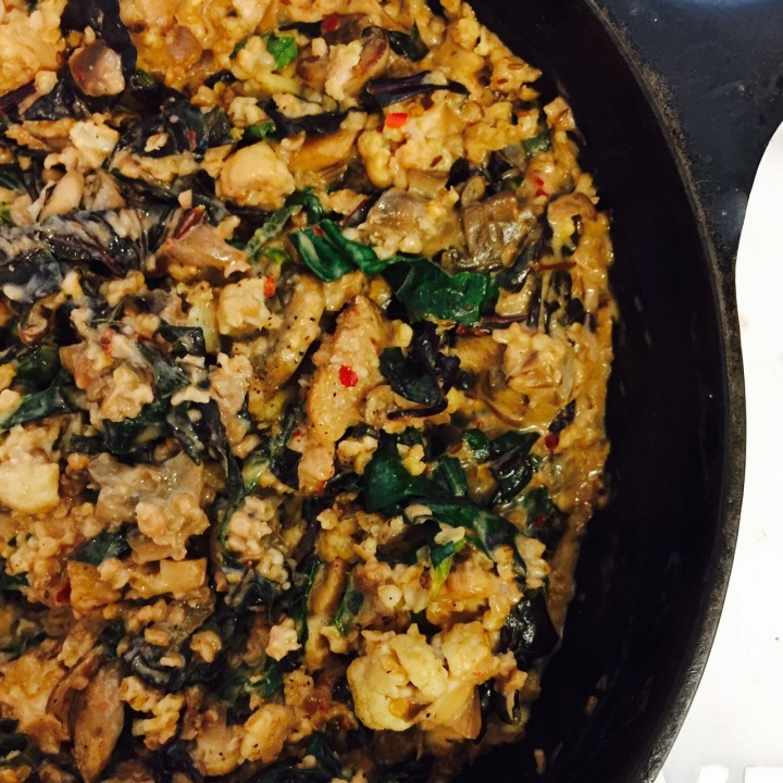 Mushroom, Spinach and Cauliflower Spelteree